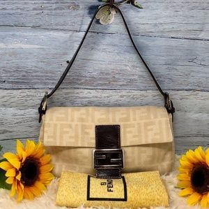 Authentic Fendi FF Monogram Shoulder Bag